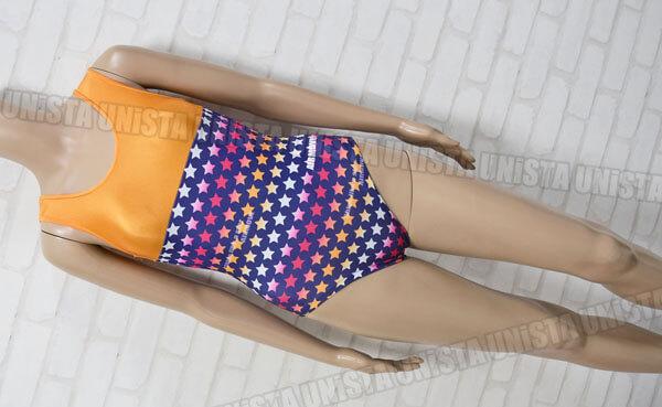 AIRMOVE エアムーブ 女子体操競技 ノースリーブレオタード スター柄 オレンジ・ネイビー