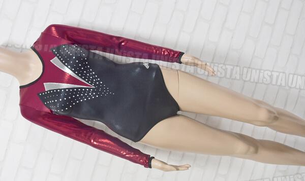 ALPHA FACTOR アルファファクター ST8472 女子体操競技 ロングスリーブレオタード ブラック・ワインレッド