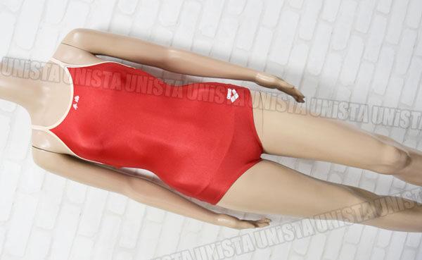 ARENA アリーナ ARN-75W 白パイピングワンピース水着・女子競泳水着 レッド