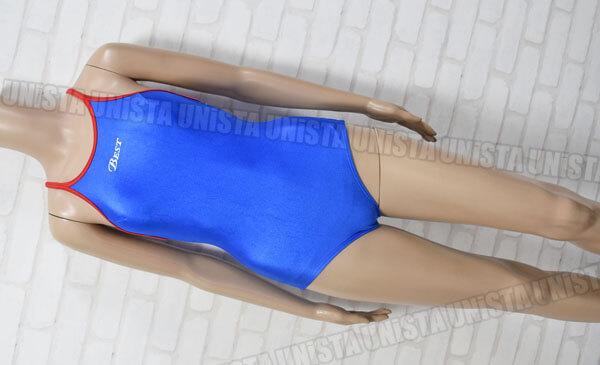 ルートワン BEST ベストスイミングスクール指定 赤パイピング女子競泳水着 ブルー・レッド