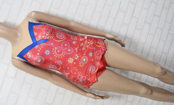 SASAKI ササキスポーツ 女子新体操競技 ノースリーブレオタード レッド・ベージュ