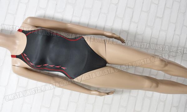 SPEEDO-スピード-SD48A11-flyingfish-フライングフィッシュ-レースカットスーツ-女子競泳水着-ブラック・レッド