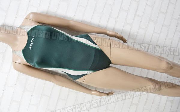 SPEEDO スピード 83OG-33135 XOバック型 アクセライン 女子競泳水着 グリーン・グレー