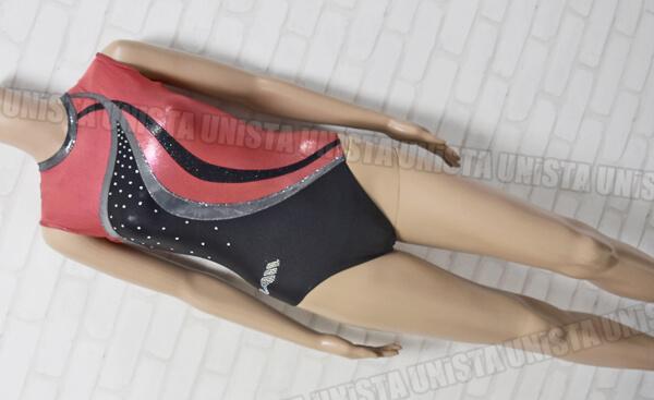 ChristianMOREAU クリスチャンモロー 女子体操競技 ノースリーブレオタード レッド・ブラック