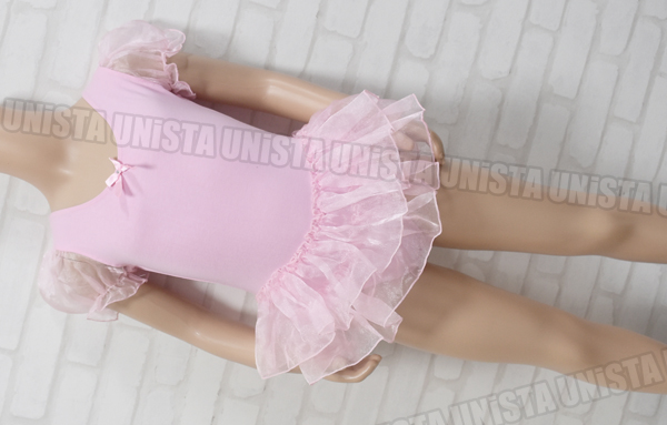 RED RAIN 女子バレエ・ダンス スカート型パフスリーブレオタード ピンク