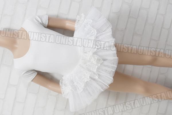 RED RAIN 女子バレエ・ダンス スカート型パフスリーブレオタード ホワイト