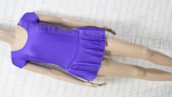 Roden 女子バレエ・ダンス スカート型半袖レオタード 無地 パープル