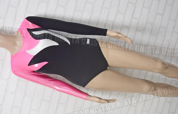 SASAKI ササキスポーツ 女子体操競技 ロングスリーブレオタード ブラック・ピンク