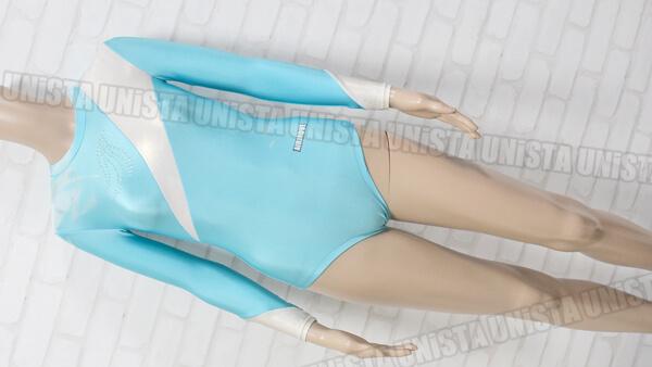 AIRMOVE エアムーブ 女子体操競技 ロングスリーブレオタード ライトブルー・ホワイト