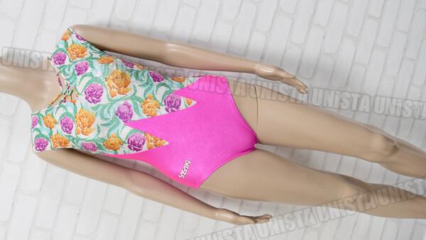 SASAKI ササキスポーツ 女子バレエ・ダンス レースアップフレンチスリーブレオタード ピンク 花柄