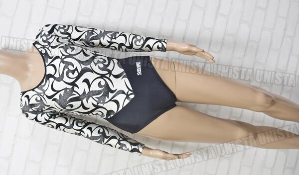SASAKI ササキスポーツ 女子体操競技 ロングスリーブレオタード ブラック・ホワイト