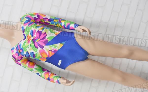 SASAKI ササキスポーツ 女子体操競技 フロントギャザー ロングスリーブレオタード 花柄 ブルー