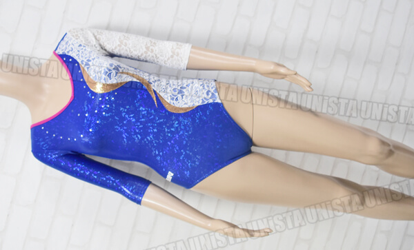 SASAKI ササキスポーツ 女子体操競技 レース装飾 ハーフスリーブレオタード ブルー・ホワイト