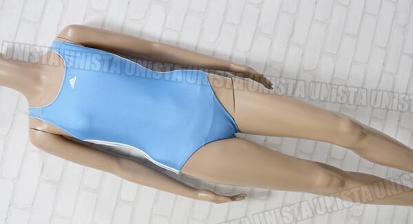adidas アディダス 女子フィットネスワンピース水着 胸パット入れ付き水着 ライトブルー
