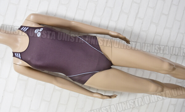 adidas アディダス 3ストライプ グレコバック型女子競泳水着 ブラウン