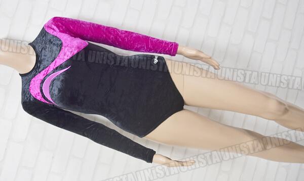 AGIVA アギバ REF.1963 女子体操競技 ロングスリーブレオタード ブラック・パープル