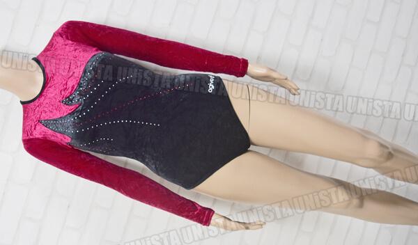 AGIVA アギバ 女子体操競技 ロングスリーブレオタード ワインレッド・ブラック