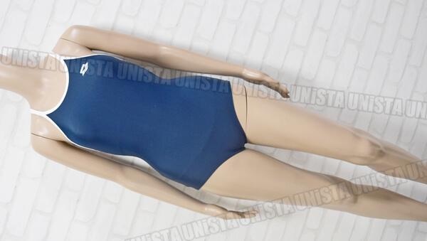 ARENA アリーナ ARN-185W 白パイピングワンピース水着・女子競泳水着 ネイビー