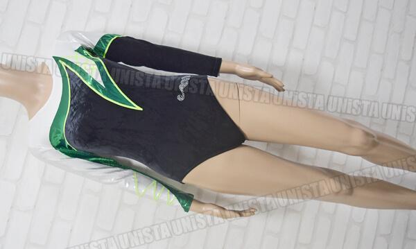 Christian MOREAU クリスチャンモロー 体操競技 ロングスリーブレオタード ブラック・グリーン