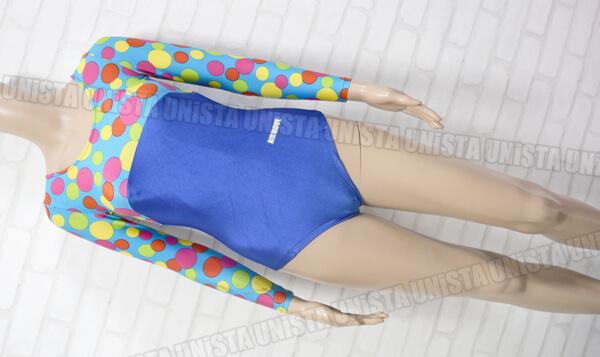 AIRMOVE エアムーブ 女子体操競技 ロングスリーブレオタード ドット柄 ブルー・ライトブルー
