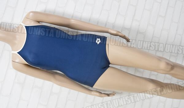 ARENA アリーナ ARN-75W 白パイピングワンピース水着・女子競泳水着 ネイビー