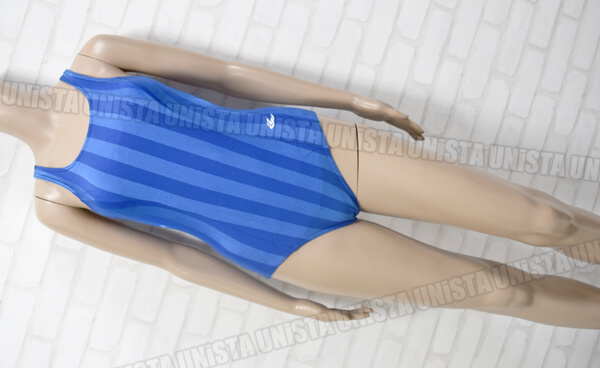 GALAX ギャレックス ワンピース水着・女子競泳水着 ストライプ ライトブルー・ブルー