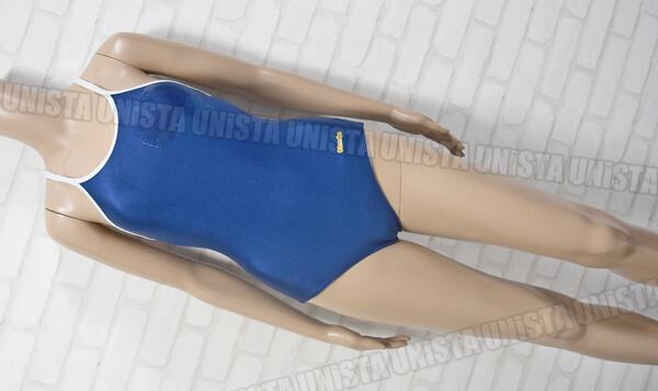 IZUMIYA イズミヤ BM601 白パイピングワンピース水着・女子競泳水着 ネイビー