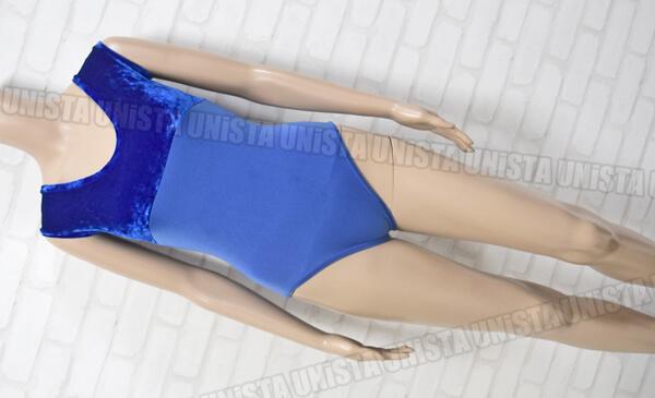 MARISA DANCE WEAR マリサ 女子バレエ・ダンス フレンチスリーブレオタード ベロア切替 ブルー USA製