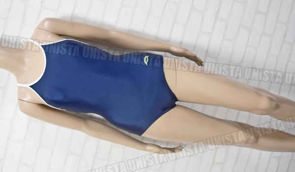 YACHT ヨット 白パイピングワンピース水着・女子競泳水着 ネイビー