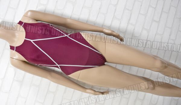 YINGFA インファー XOバック型 ハイカット女子競泳水着 エンジ