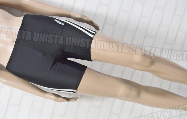 adidas アディダス 3STRIPES ハーフスパッツ水着・男子競泳水着 ブラック・ホワイト