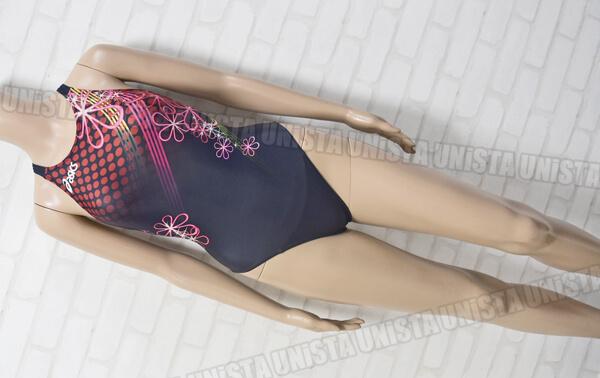ASICS アシックス AL2106 HYDRO SP ハイドロSP ハイカット女子競泳水着 ネイビー・レッド