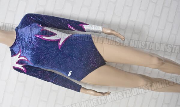 Christian MOREAU クリスチャンモロー 女子体操競技 ロングスリーブレオタード ネイビー ピンクドット
