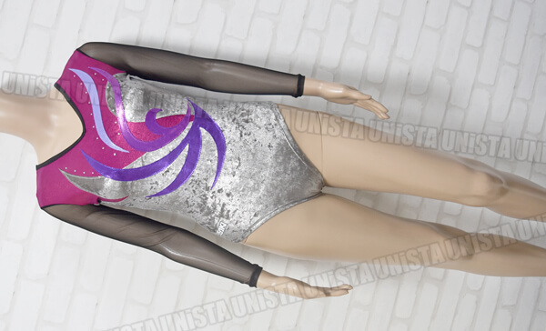 SASAKI ササキスポーツ PAS-55410 女子体操競技 ロングスリーブレオタード パープル・シルバー