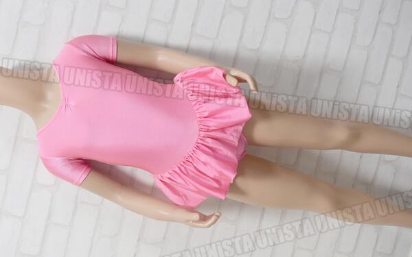 SASAKI ササキスポーツ 女子バレエ・ダンス フロントギャザー スカート型半袖レオタード 無地 ピンク