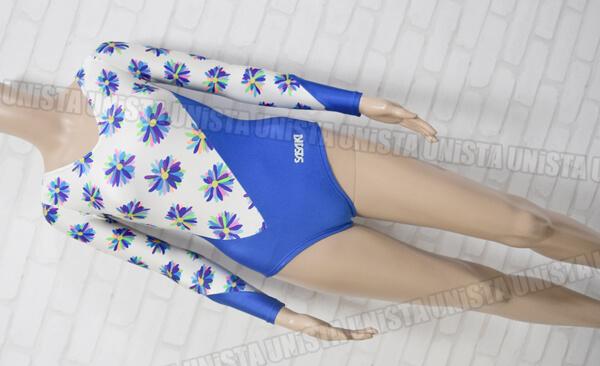 SASAKI ササキスポーツ 女子体操競技 ロングスリーブレオタード 花柄 ホワイト・ブルー