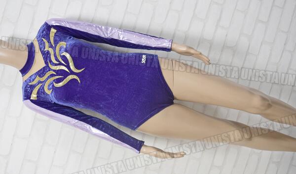 SASAKI ササキスポーツ NO.7664 女子体操競技 ロングスリーブレオタード パープル・ゴールド