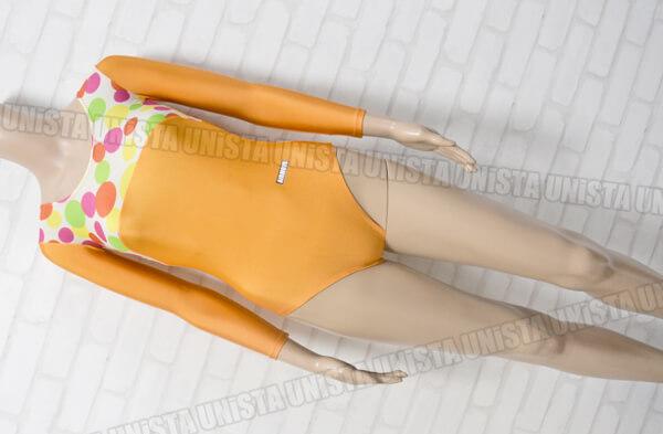 AIRMOVE エアムーブ 女子体操競技 ロングスリーブレオタード オレンジ・ドット柄