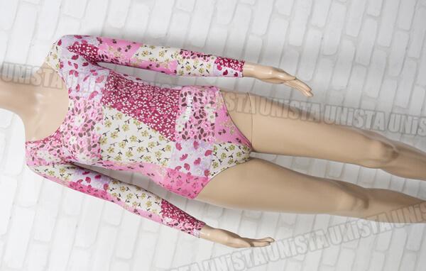 AIRMOVE エアムーブ 女子体操競技 ロングスリーブレオタード ピンク 花柄