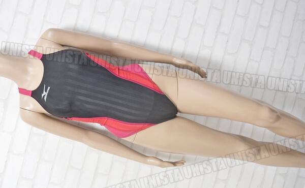 MIZUNO ミズノ N2MA722496 Stream Aqucela ストリームアクセラ ミディアムカット FINA女子競泳水着 ブラック・ローズ