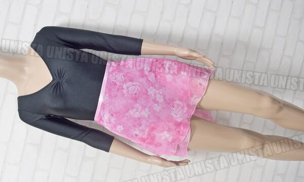 NON(日本製) & Trienawear トゥリーナウェア 7分袖レオタード+花柄巻きスカート 2点セット