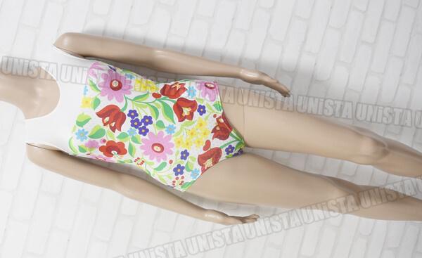 YWO 女子体操競技 ノースリーブレオタード 花柄 マルチカラー