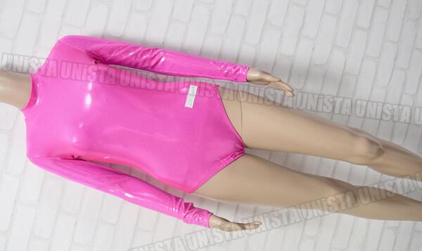 AIRMOVE エアムーブ 女子体操競技 ロングスリーブレオタード シルバードット柄 蛍光ピンク