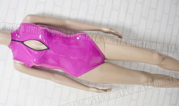 REALISE リアライズ STICKY SKIN素材 フロントジッパー競泳水着コスチューム エナメル加工 パープル