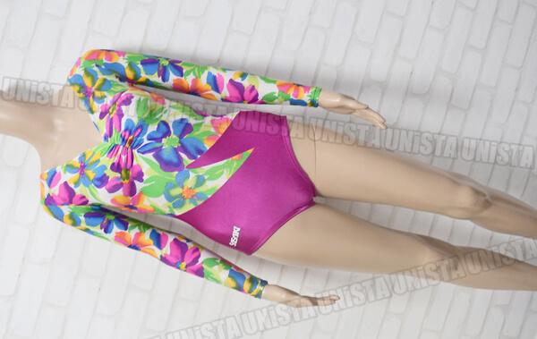 SASAKI ササキスポーツ 女子体操競技 フロントギャザーロングスリーブレオタード 花柄・パープル