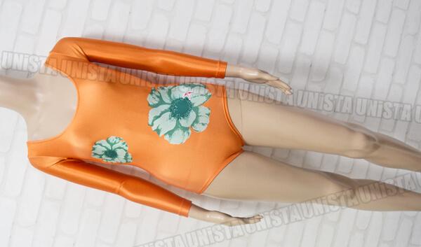 SASAKI 旧ササキスポーツ 日本体操協会推薦 女子体操競技 ロングスリーブレオタード 花柄 オレンジ