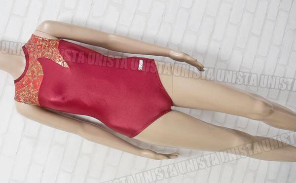 SASAKI ササキスポーツ 女子体操競技 ノースリーブレオタード レッド・ゴールド