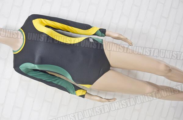 GK ELITE 女子体操競技 ロングスリーブレオタード ブラック・イエロー・グリーン