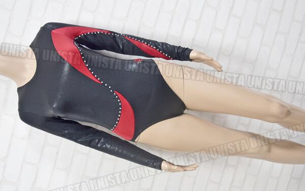 GK ELITE 女子体操競技 ロングスリーブレオタード ブラック・レッド
