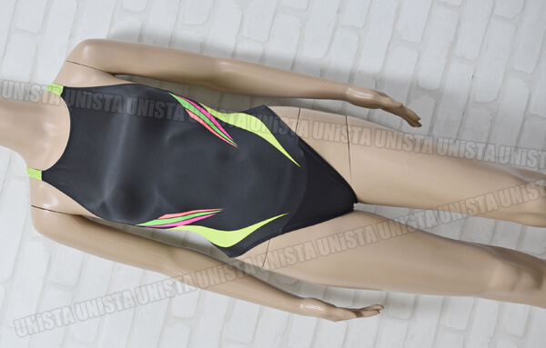 SPEEDO スピード AQUASPEC アクアスペック ハイカット 女子競泳水着 ブラック・蛍光グリーン mizuno製